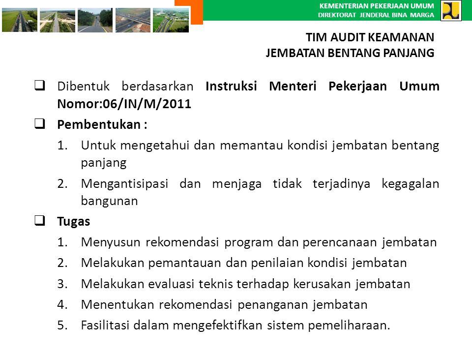 KEMENTERIAN PEKERJAAN UMUM DIREKTORAT JENDERAL BINA MARGA  Dibentuk berdasarkan Instruksi Menteri Pekerjaan Umum Nomor:06/IN/M/2011  Pembentukan : 1