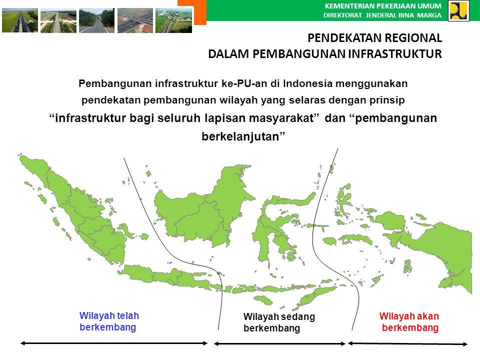 KEMENTERIAN PEKERJAAN UMUM DIREKTORAT JENDERAL BINA MARGA Pembangunan infrastruktur ke-PU-an di Indonesia menggunakan pendekatan pembangunan wilayah y