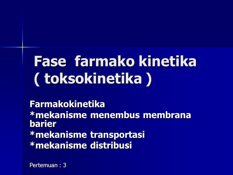 Fase farmako kinetika ( toksokinetika ) Fase farmako kinetika ( toksokinetika ) Farmakokinetika *mekanisme menembus membrana barier *mekanisme transpo
