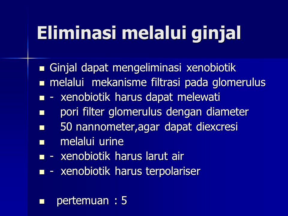 Eliminasi melalui ginjal Ginjal dapat mengeliminasi xenobiotik Ginjal dapat mengeliminasi xenobiotik melalui mekanisme filtrasi pada glomerulus melalui mekanisme filtrasi pada glomerulus - xenobiotik harus dapat melewati - xenobiotik harus dapat melewati pori filter glomerulus dengan diameter pori filter glomerulus dengan diameter 50 nannometer,agar dapat diexcresi 50 nannometer,agar dapat diexcresi melalui urine melalui urine - xenobiotik harus larut air - xenobiotik harus larut air - xenobiotik harus terpolariser - xenobiotik harus terpolariser pertemuan : 5 pertemuan : 5