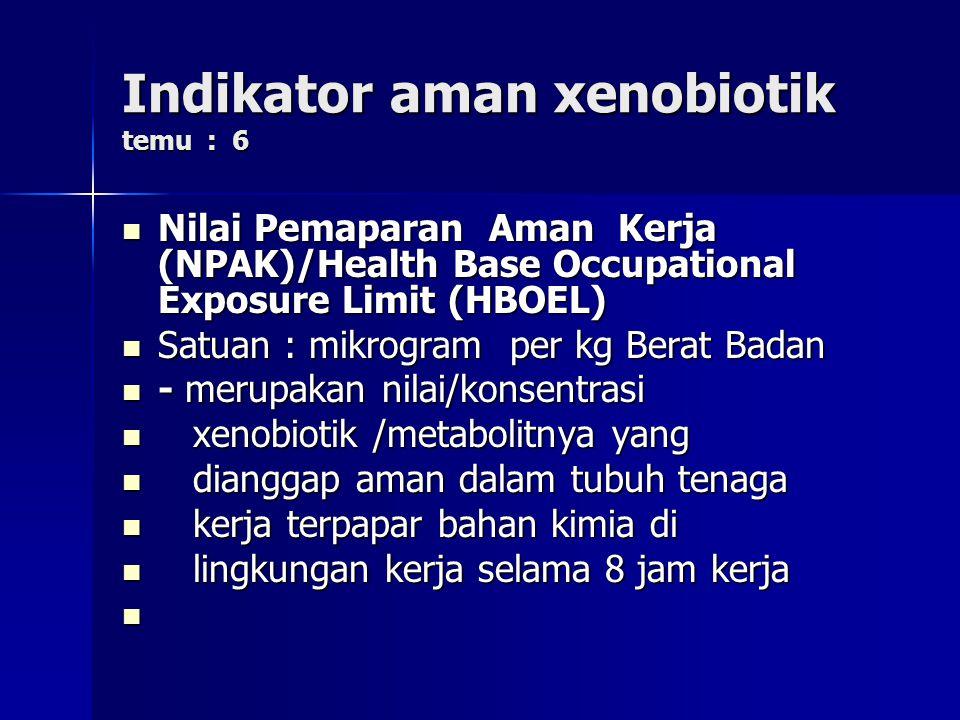 Indikator aman xenobiotik temu : 6 Nilai Pemaparan Aman Kerja (NPAK)/Health Base Occupational Exposure Limit (HBOEL) Nilai Pemaparan Aman Kerja (NPAK)/Health Base Occupational Exposure Limit (HBOEL) Satuan : mikrogram per kg Berat Badan Satuan : mikrogram per kg Berat Badan - merupakan nilai/konsentrasi - merupakan nilai/konsentrasi xenobiotik /metabolitnya yang xenobiotik /metabolitnya yang dianggap aman dalam tubuh tenaga dianggap aman dalam tubuh tenaga kerja terpapar bahan kimia di kerja terpapar bahan kimia di lingkungan kerja selama 8 jam kerja lingkungan kerja selama 8 jam kerja