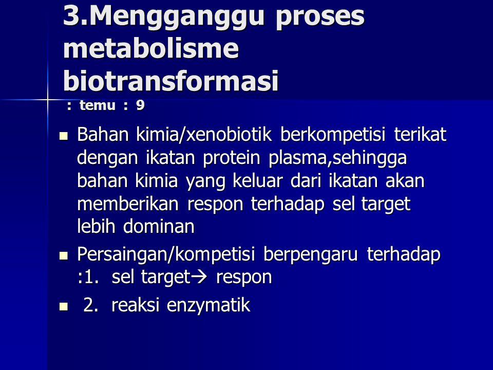 3.Mengganggu proses metabolisme biotransformasi : temu : 9 Bahan kimia/xenobiotik berkompetisi terikat dengan ikatan protein plasma,sehingga bahan kimia yang keluar dari ikatan akan memberikan respon terhadap sel target lebih dominan Bahan kimia/xenobiotik berkompetisi terikat dengan ikatan protein plasma,sehingga bahan kimia yang keluar dari ikatan akan memberikan respon terhadap sel target lebih dominan Persaingan/kompetisi berpengaru terhadap :1.