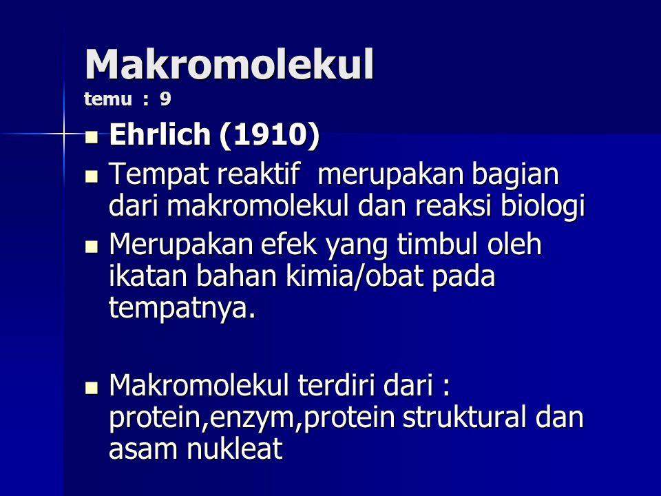 Makromolekul temu : 9 Ehrlich (1910) Ehrlich (1910) Tempat reaktif merupakan bagian dari makromolekul dan reaksi biologi Tempat reaktif merupakan bagian dari makromolekul dan reaksi biologi Merupakan efek yang timbul oleh ikatan bahan kimia/obat pada tempatnya.