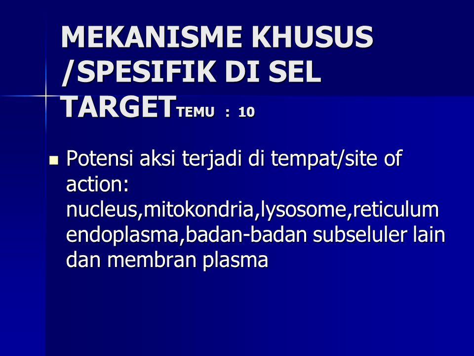 MEKANISME KHUSUS /SPESIFIK DI SEL TARGET TEMU : 10 Potensi aksi terjadi di tempat/site of action: nucleus,mitokondria,lysosome,reticulum endoplasma,badan-badan subseluler lain dan membran plasma Potensi aksi terjadi di tempat/site of action: nucleus,mitokondria,lysosome,reticulum endoplasma,badan-badan subseluler lain dan membran plasma