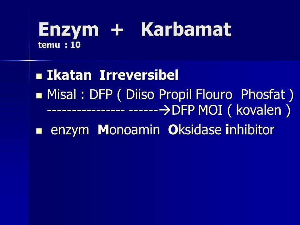 Enzym + Karbamat temu : 10 Ikatan Irreversibel Ikatan Irreversibel Misal : DFP ( Diiso Propil Flouro Phosfat ) ---------------- ------  DFP MOI ( kov