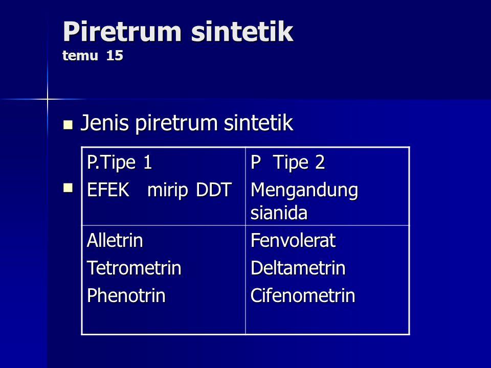 Piretrum sintetik temu 15 Jenis piretrum sintetik Jenis piretrum sintetik P.Tipe 1 EFEK mirip DDT P Tipe 2 Mengandung sianida AlletrinTetrometrinPheno