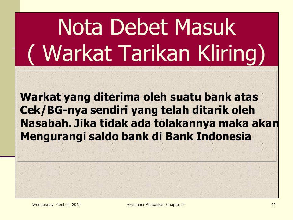 Wednesday, April 08, 2015 Akuntansi Perbankan Chapter 511 Nota Debet Masuk ( Warkat Tarikan Kliring) Warkat yang diterima oleh suatu bank atas Cek/BG-nya sendiri yang telah ditarik oleh Nasabah.