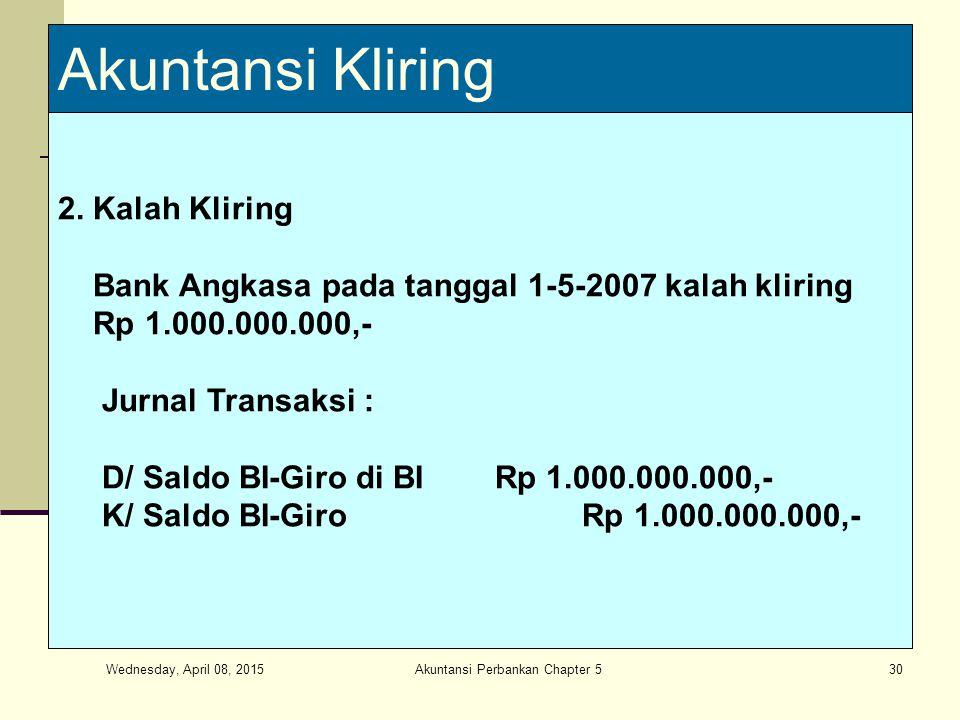 Wednesday, April 08, 2015 Akuntansi Perbankan Chapter 530 Akuntansi Kliring 2. Kalah Kliring Bank Angkasa pada tanggal 1-5-2007 kalah kliring Rp 1.000