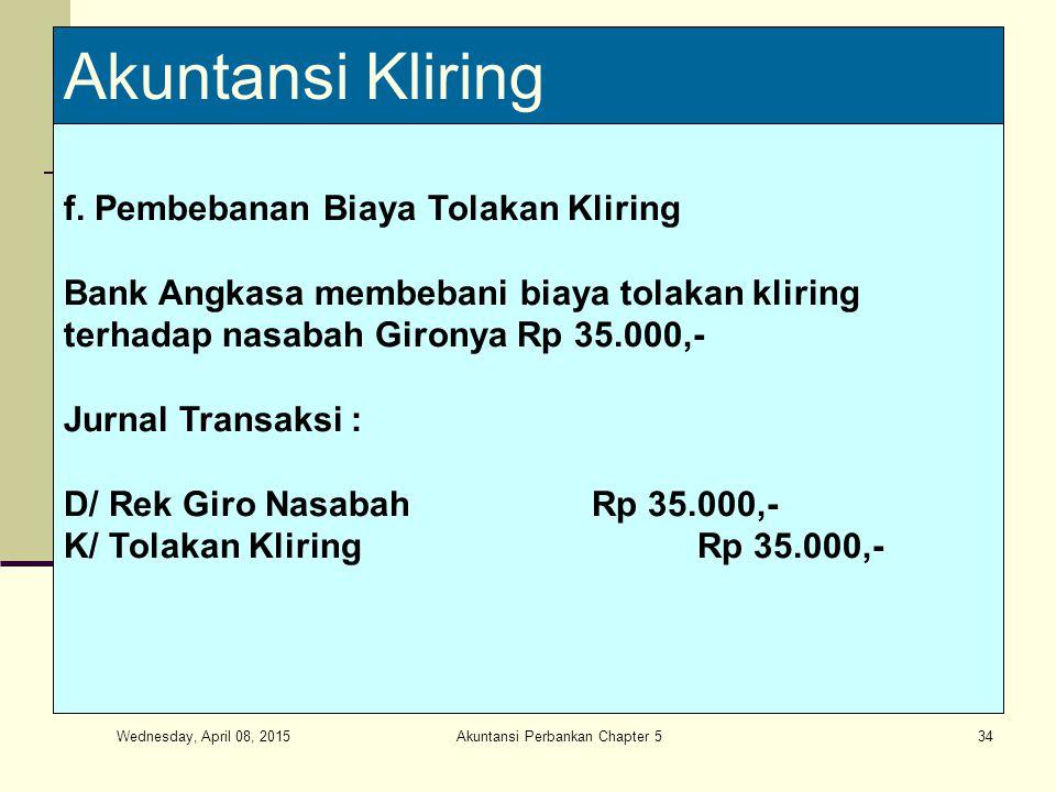 Wednesday, April 08, 2015 Akuntansi Perbankan Chapter 534 Akuntansi Kliring f.