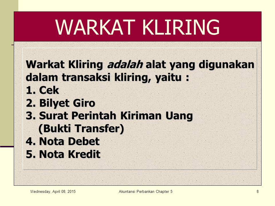 Wednesday, April 08, 2015 Akuntansi Perbankan Chapter 58 WARKAT KLIRING Warkat Kliring adalah alat yang digunakan dalam transaksi kliring, yaitu : 1.