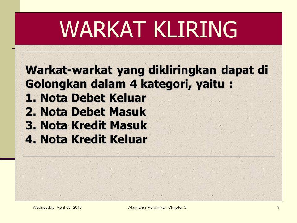 Misalkan pada tanggal 14 Februari 2013 Bank Mega : Misalkan pada tanggal 14 Februari 2013 Bank Mega : Menerima cek/BG bank sendiri dari Bank lain Rp 800.000.000,- Menerima cek/BG bank sendiri dari Bank lain Rp 800.000.000,- Menyerahkan CN untuk Bank lain Rp 700.000.000,- Menyerahkan CN untuk Bank lain Rp 700.000.000,- Menyerahkan cek/BG ke Bank lain Rp 2.550.000.000,- Menyerahkan cek/BG ke Bank lain Rp 2.550.000.000,- Menerima CN dari Bank lain Rp 150.000.000,- Menerima CN dari Bank lain Rp 150.000.000,- Wednesday, April 08, 2015 Akuntansi Perbankan Chapter 520
