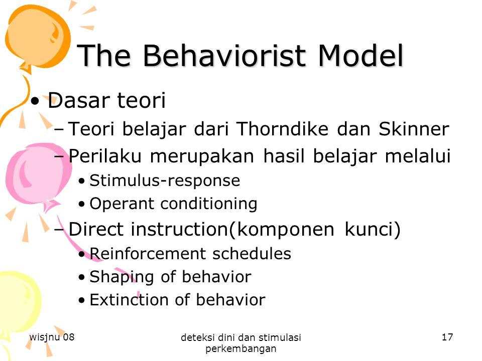 wisjnu 08 deteksi dini dan stimulasi perkembangan 17 The Behaviorist Model Dasar teori –Teori belajar dari Thorndike dan Skinner –Perilaku merupakan h