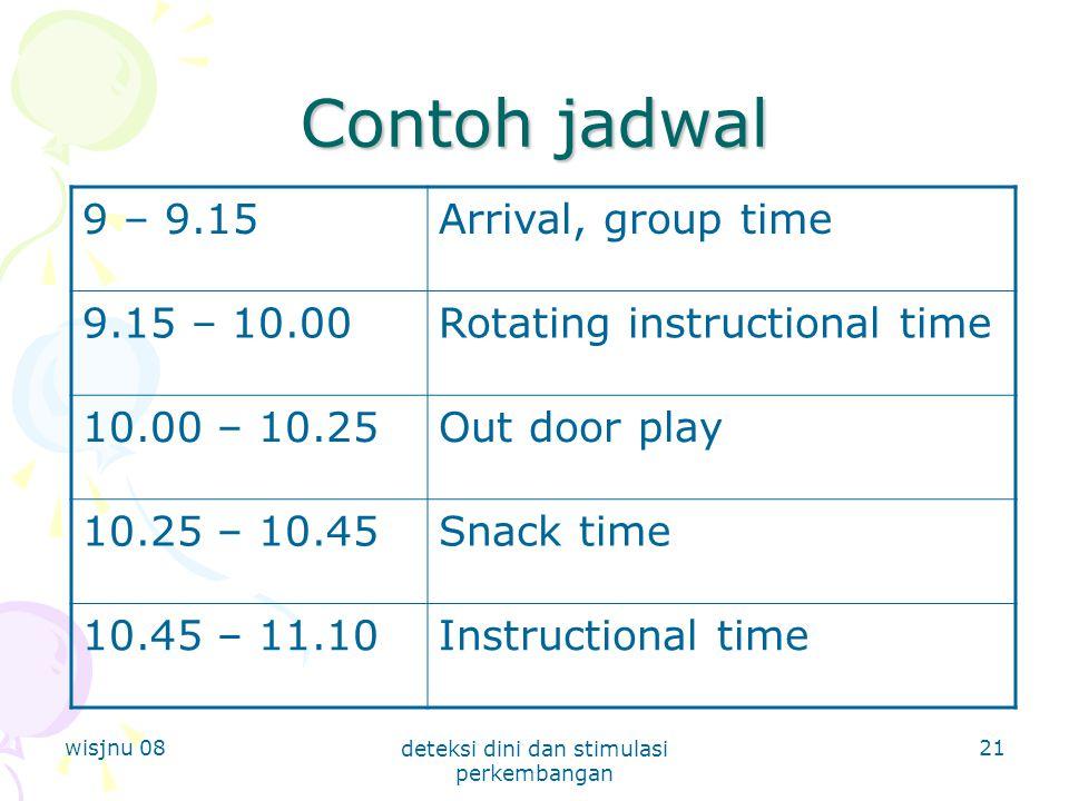wisjnu 08 deteksi dini dan stimulasi perkembangan 21 Contoh jadwal 9 – 9.15Arrival, group time 9.15 – 10.00Rotating instructional time 10.00 – 10.25Ou