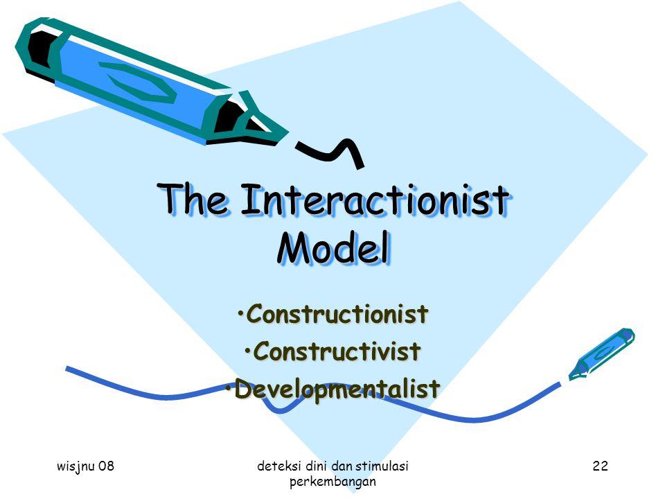 wisjnu 08deteksi dini dan stimulasi perkembangan 22 The Interactionist Model ConstructionistConstructionist ConstructivistConstructivist Developmental