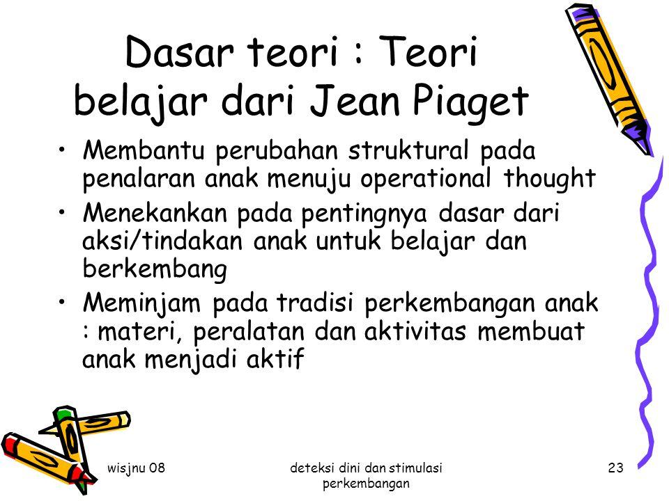 wisjnu 08deteksi dini dan stimulasi perkembangan 23 Dasar teori : Teori belajar dari Jean Piaget Membantu perubahan struktural pada penalaran anak men