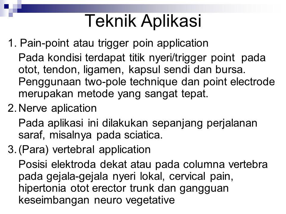Teknik Aplikasi 1. Pain-point atau trigger poin application Pada kondisi terdapat titik nyeri/trigger point pada otot, tendon, ligamen, kapsul sendi d