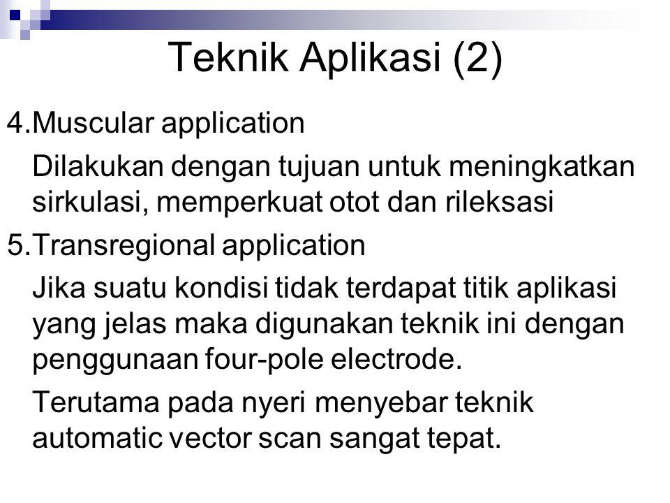 Teknik Aplikasi (2) 4.Muscular application Dilakukan dengan tujuan untuk meningkatkan sirkulasi, memperkuat otot dan rileksasi 5.Transregional applica