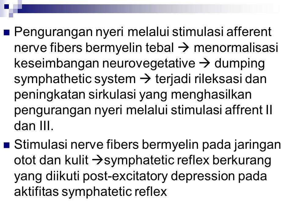 Pengurangan nyeri melalui stimulasi afferent nerve fibers bermyelin tebal  menormalisasi keseimbangan neurovegetative  dumping symphathetic system 