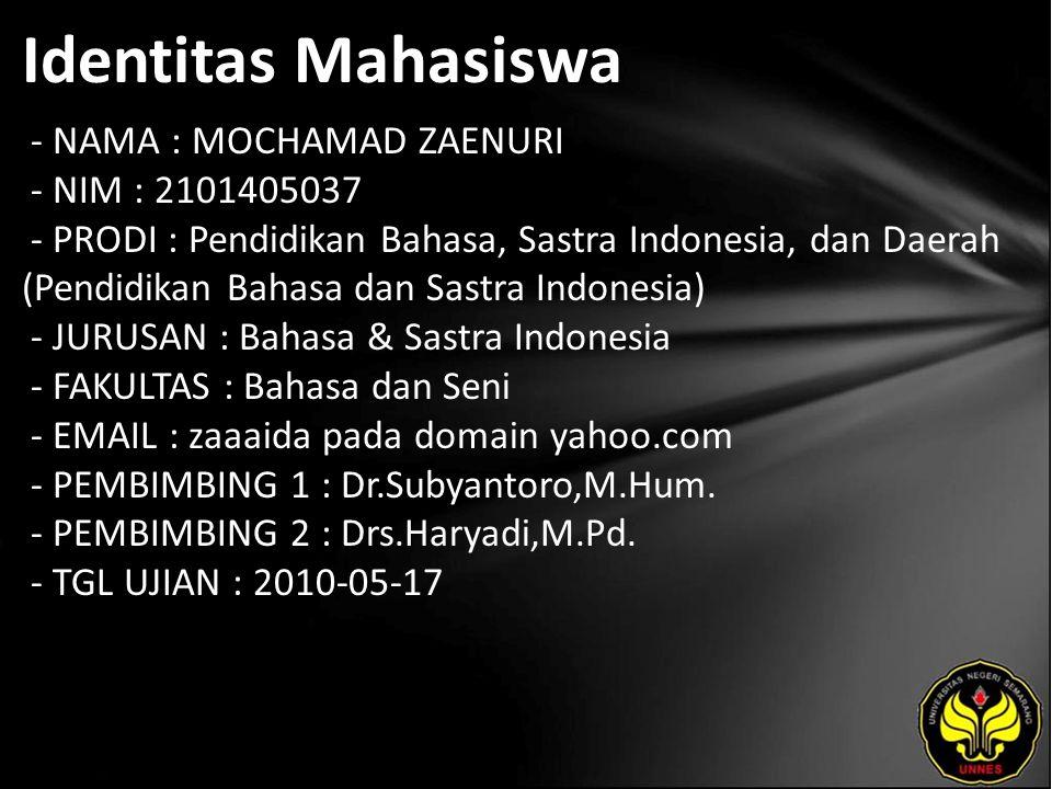 Identitas Mahasiswa - NAMA : MOCHAMAD ZAENURI - NIM : 2101405037 - PRODI : Pendidikan Bahasa, Sastra Indonesia, dan Daerah (Pendidikan Bahasa dan Sast