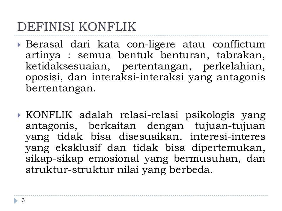 DEFINISI KONFLIK 4  KONFLIK (dalam situasi kerja) adalah konfrontasi antara individu atau kelompok yang dapat mempertinggi (menguntungkan) atau merintangi (merugikan tercapainya tujuan organisasi).