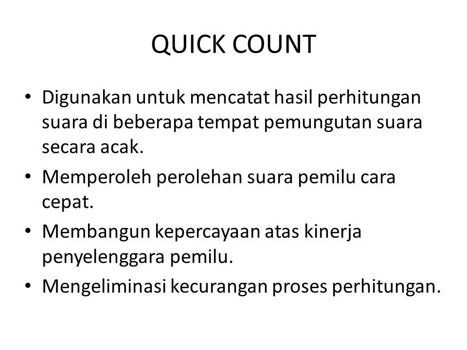 QUICK COUNT Digunakan untuk mencatat hasil perhitungan suara di beberapa tempat pemungutan suara secara acak. Memperoleh perolehan suara pemilu cara c