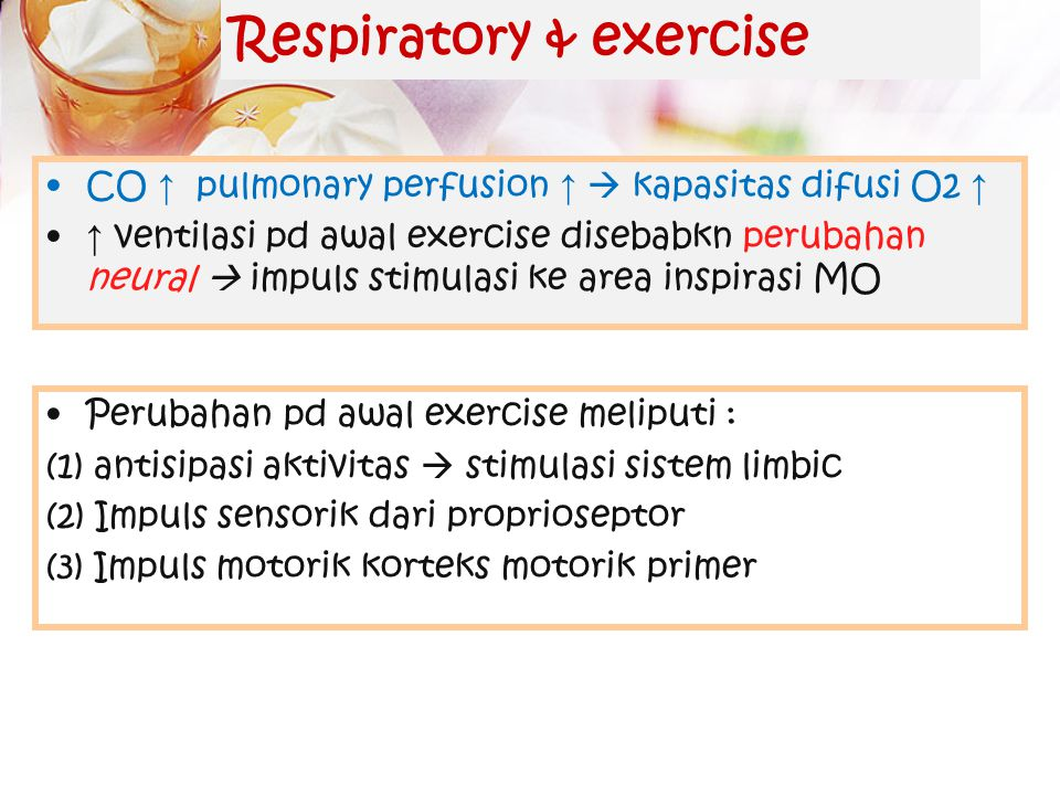 Faktor lain yg mempengaruhi respirasi Me ↑ frekuensi & dalamnya inhalasi 1. Sistem limbik ↑ frekuensi 2. Temperatur Severe pain = apneu, Prolong somat