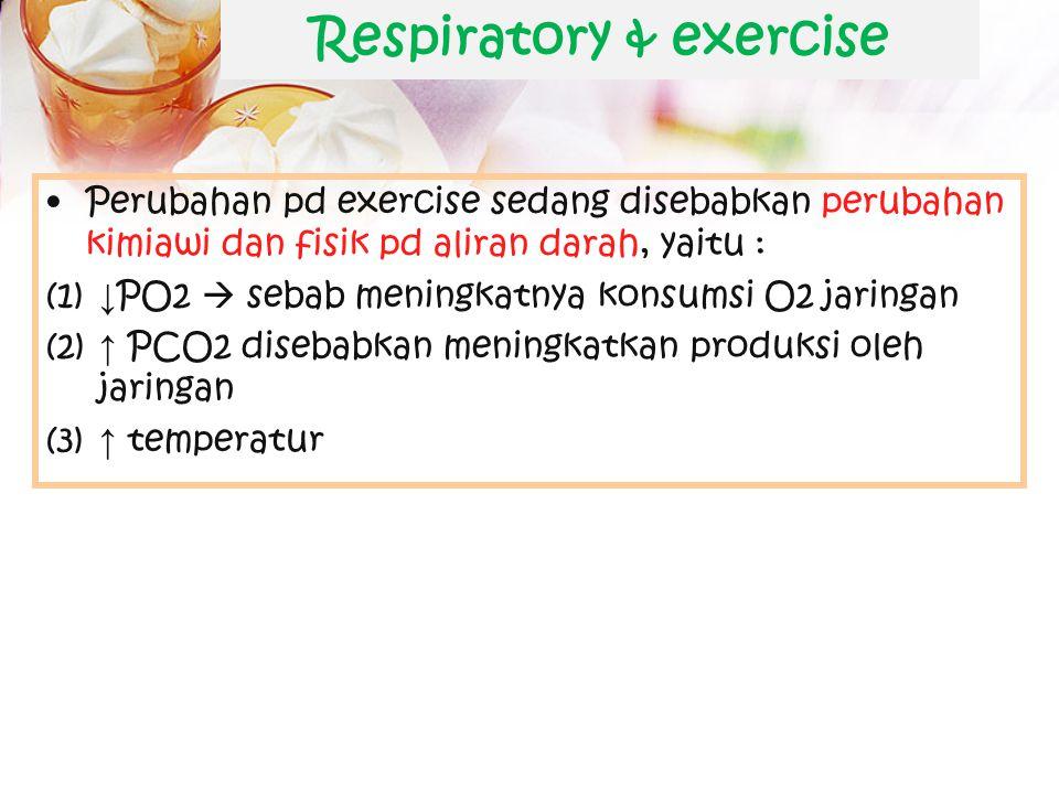 Respiratory & exercise CO ↑ pulmonary perfusion ↑  kapasitas difusi O2 ↑ ↑ ventilasi pd awal exercise disebabkn perubahan neural  impuls stimulasi k