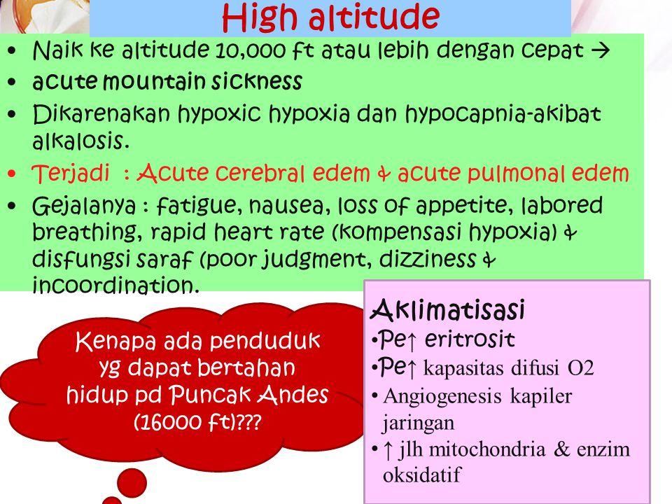 Efek ketinggian & kedalaman laut Efek High Altitude pada tubuh Tekanan atm menurun proggresif pada ketinggian Pd 18,000 ft atas permukaan laut, tekana