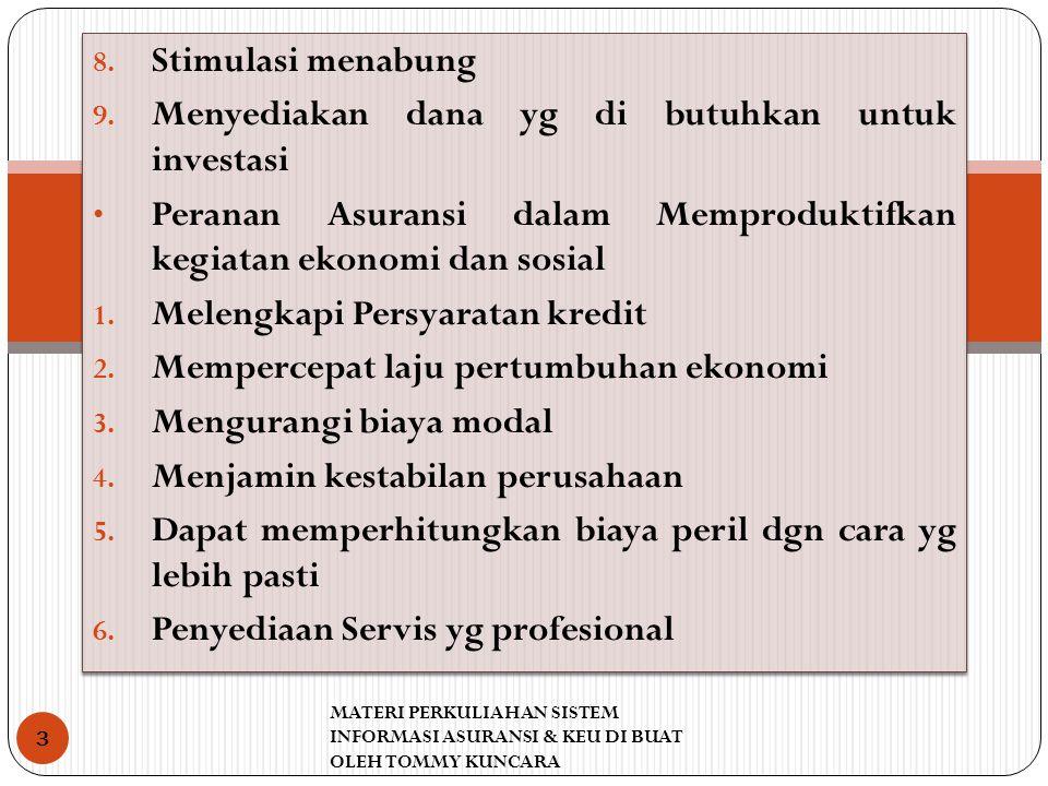 8. Stimulasi menabung 9. Menyediakan dana yg di butuhkan untuk investasi Peranan Asuransi dalam Memproduktifkan kegiatan ekonomi dan sosial 1. Melengk