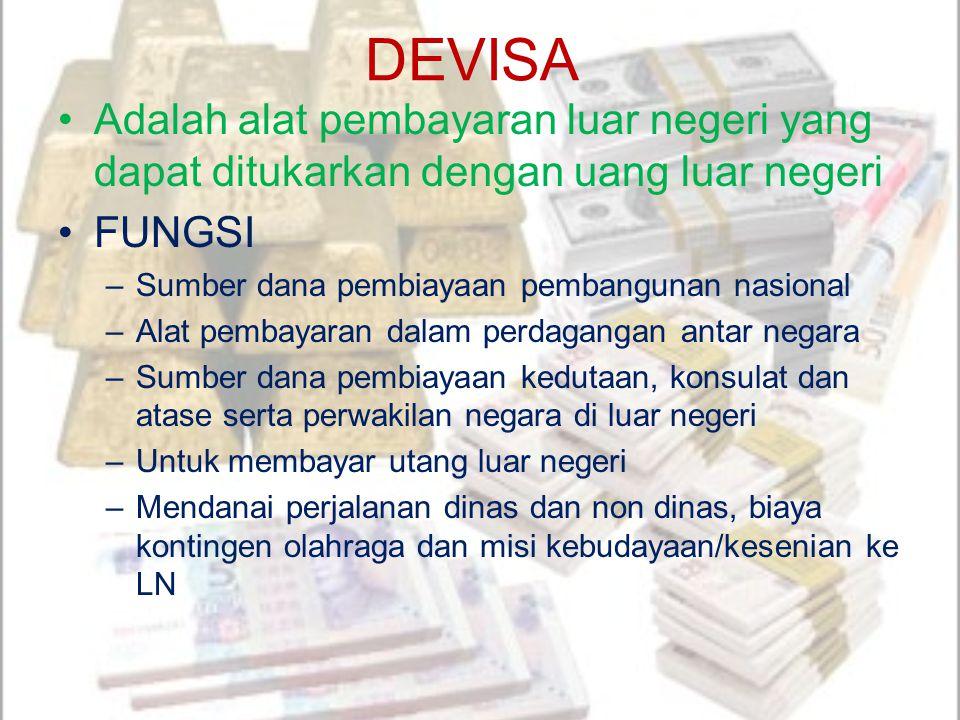 DEVISA Adalah alat pembayaran luar negeri yang dapat ditukarkan dengan uang luar negeri FUNGSI –Sumber dana pembiayaan pembangunan nasional –Alat pemb