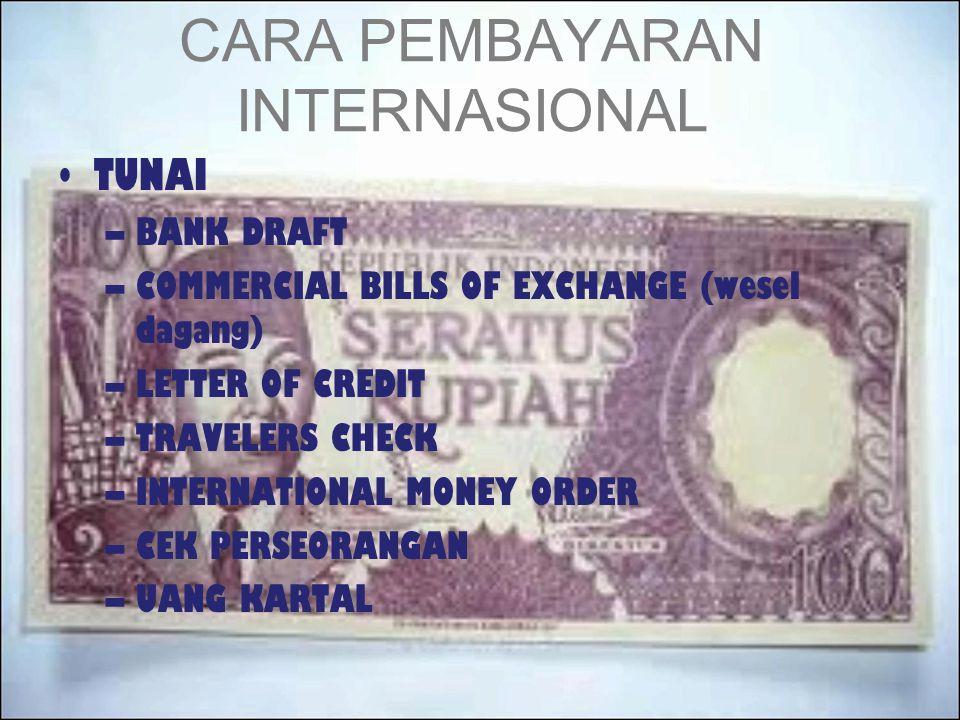 CARA PEMBAYARAN INTERNASIONAL TUNAI –BANK DRAFT –COMMERCIAL BILLS OF EXCHANGE (wesel dagang) –LETTER OF CREDIT –TRAVELERS CHECK –INTERNATIONAL MONEY O