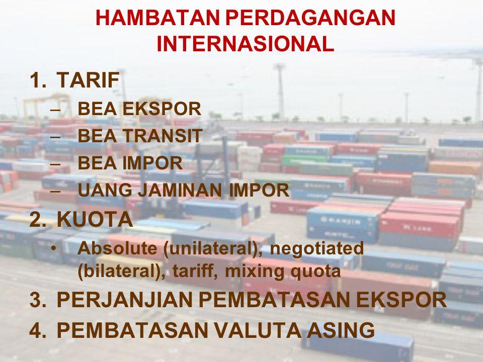 HAMBATAN PERDAGANGAN INTERNASIONAL 1.TARIF –BEA EKSPOR –BEA TRANSIT –BEA IMPOR –UANG JAMINAN IMPOR 2.KUOTA Absolute (unilateral), negotiated (bilatera