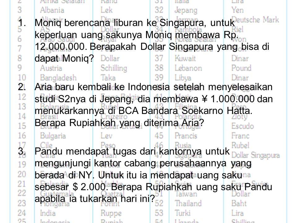 1.Moniq berencana liburan ke Singapura, untuk keperluan uang sakunya Moniq membawa Rp. 12.000.000. Berapakah Dollar Singapura yang bisa di dapat Moniq