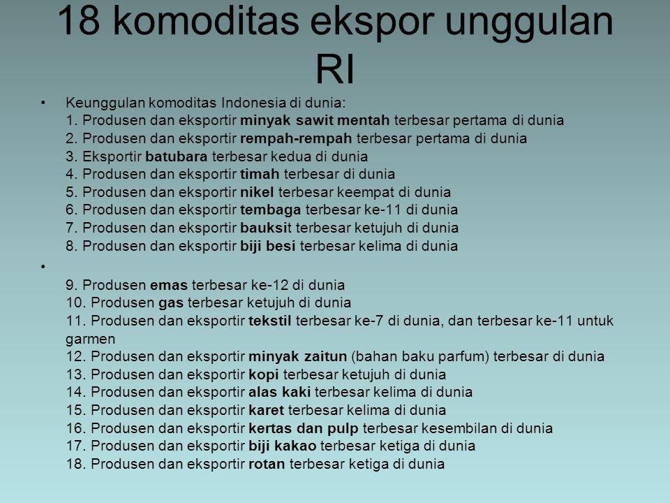 18 komoditas ekspor unggulan RI Keunggulan komoditas Indonesia di dunia: 1. Produsen dan eksportir minyak sawit mentah terbesar pertama di dunia 2. Pr