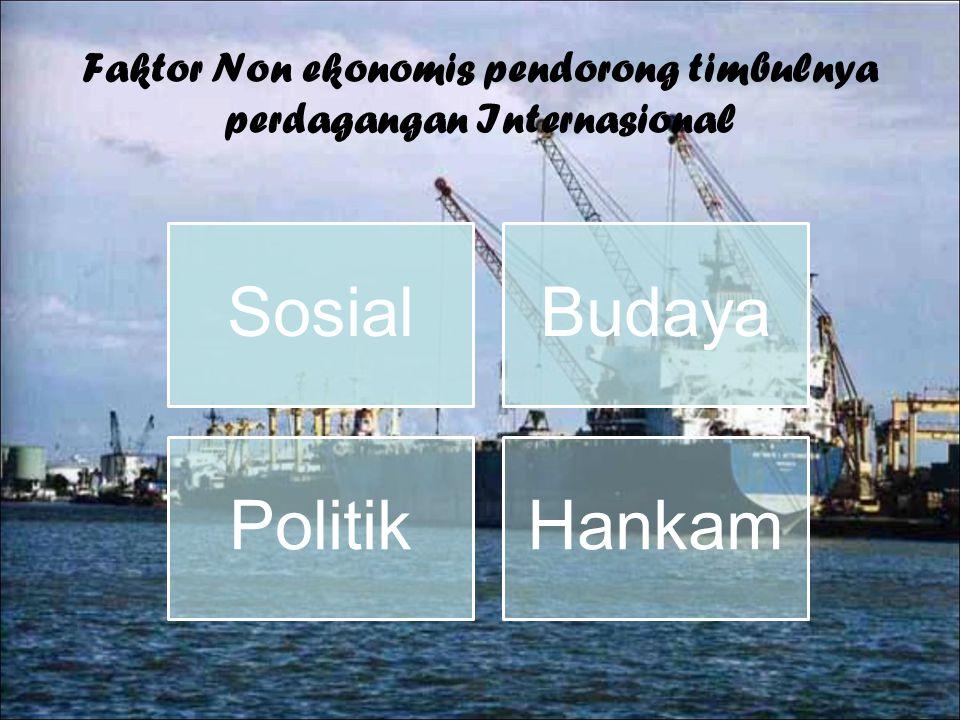 Faktor Non ekonomis pendorong timbulnya perdagangan Internasional SosialBudaya PolitikHankam
