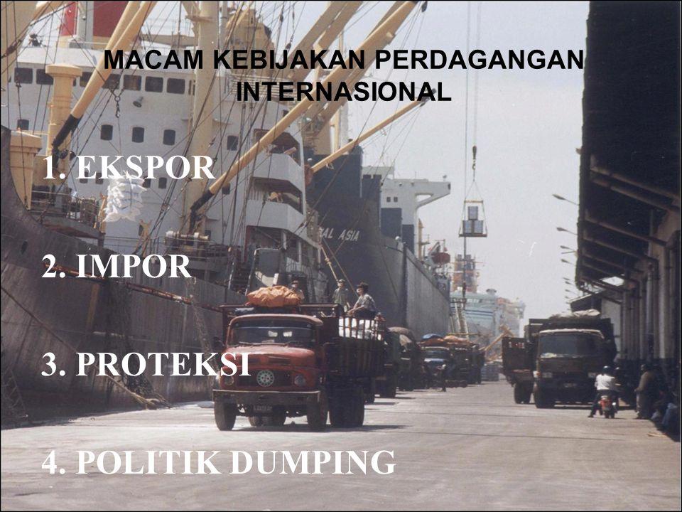 MACAM KEBIJAKAN PERDAGANGAN INTERNASIONAL 1.EKSPOR 2.IMPOR 3.PROTEKSI 4.POLITIK DUMPING