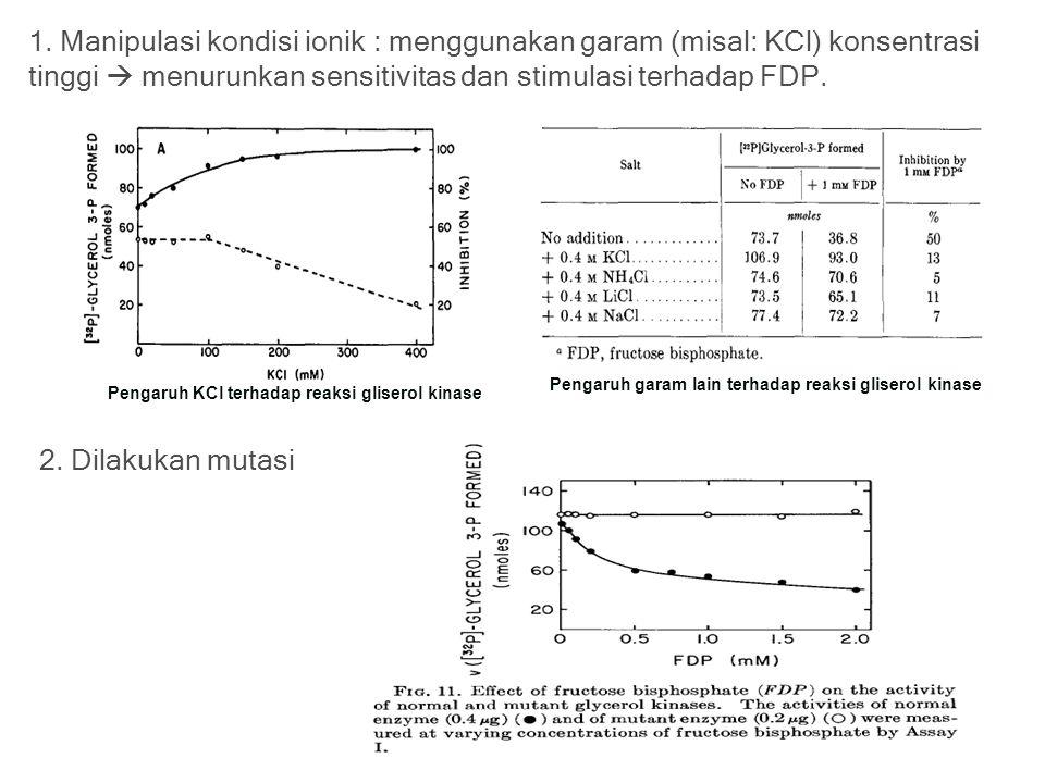 1. Manipulasi kondisi ionik : menggunakan garam (misal: KCl) konsentrasi tinggi  menurunkan sensitivitas dan stimulasi terhadap FDP. Pengaruh KCl ter