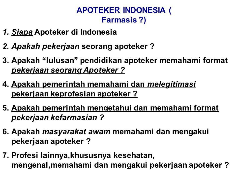 APOTEKER INDONESIA ( Farmasis ?) 1.Siapa Apoteker di Indonesia 2.Apakah pekerjaan seorang apoteker .
