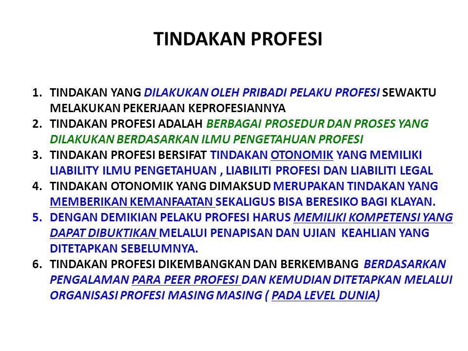 TINDAKAN PROFESI 1.TINDAKAN YANG DILAKUKAN OLEH PRIBADI PELAKU PROFESI SEWAKTU MELAKUKAN PEKERJAAN KEPROFESIANNYA 2.TINDAKAN PROFESI ADALAH BERBAGAI PROSEDUR DAN PROSES YANG DILAKUKAN BERDASARKAN ILMU PENGETAHUAN PROFESI 3.TINDAKAN PROFESI BERSIFAT TINDAKAN OTONOMIK YANG MEMILIKI LIABILITY ILMU PENGETAHUAN, LIABILITI PROFESI DAN LIABILITI LEGAL 4.TINDAKAN OTONOMIK YANG DIMAKSUD MERUPAKAN TINDAKAN YANG MEMBERIKAN KEMANFAATAN SEKALIGUS BISA BERESIKO BAGI KLAYAN.