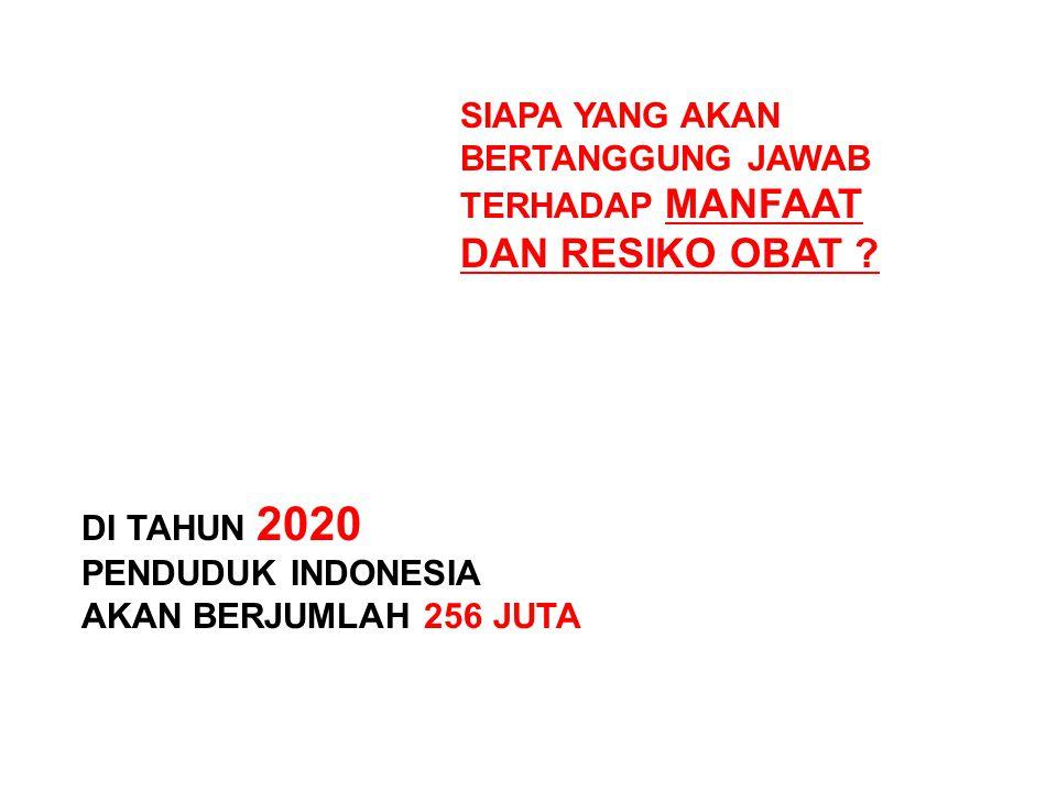 DI TAHUN 2020 PENDUDUK INDONESIA AKAN BERJUMLAH 256 JUTA SIAPA YANG AKAN BERTANGGUNG JAWAB TERHADAP MANFAAT DAN RESIKO OBAT ?