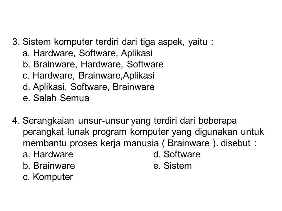 2. Dibawah ini adalah merupakan piranti (alat) input pada perangkat keras (hardware), yaitu : a. Monitord. Printer b. Speaker Audioe. LCD c. Keyboard