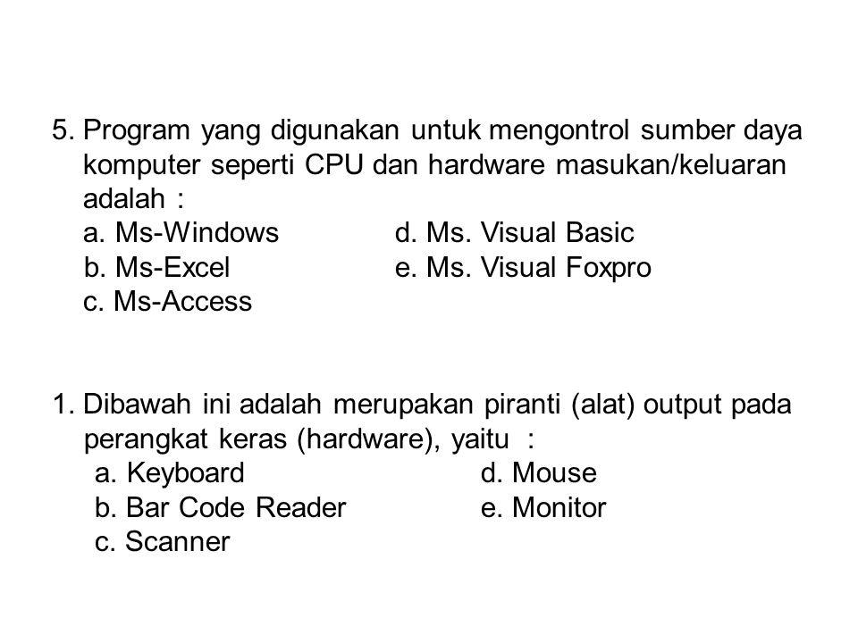 4. Serangkaian unsur-unsur yang terdiri dari beberapa perangkat lunak program komputer yang digunakan untuk membantu proses kerja manusia ( Brainware