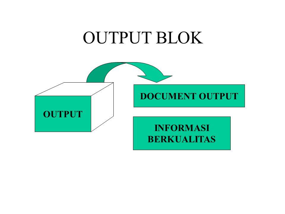 OUTPUT BLOK OUTPUT DOCUMENT OUTPUT INFORMASI BERKUALITAS