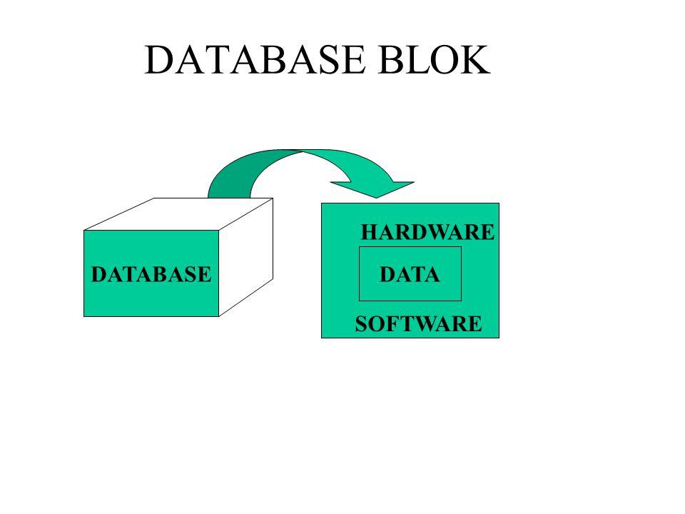 DATABASE BLOK DATABASE DATA HARDWARE SOFTWARE