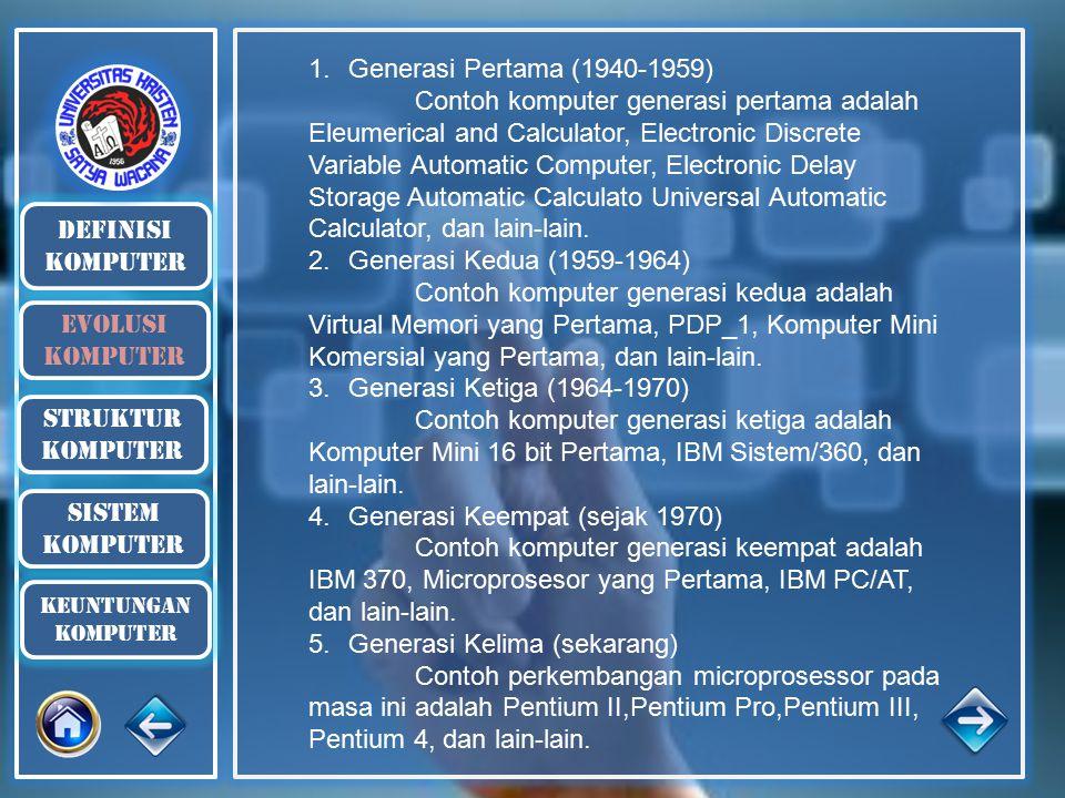 definisi komputer Evolusi komputer Struktur komputer 1.Generasi Pertama (1940-1959) Contoh komputer generasi pertama adalah Eleumerical and Calculator