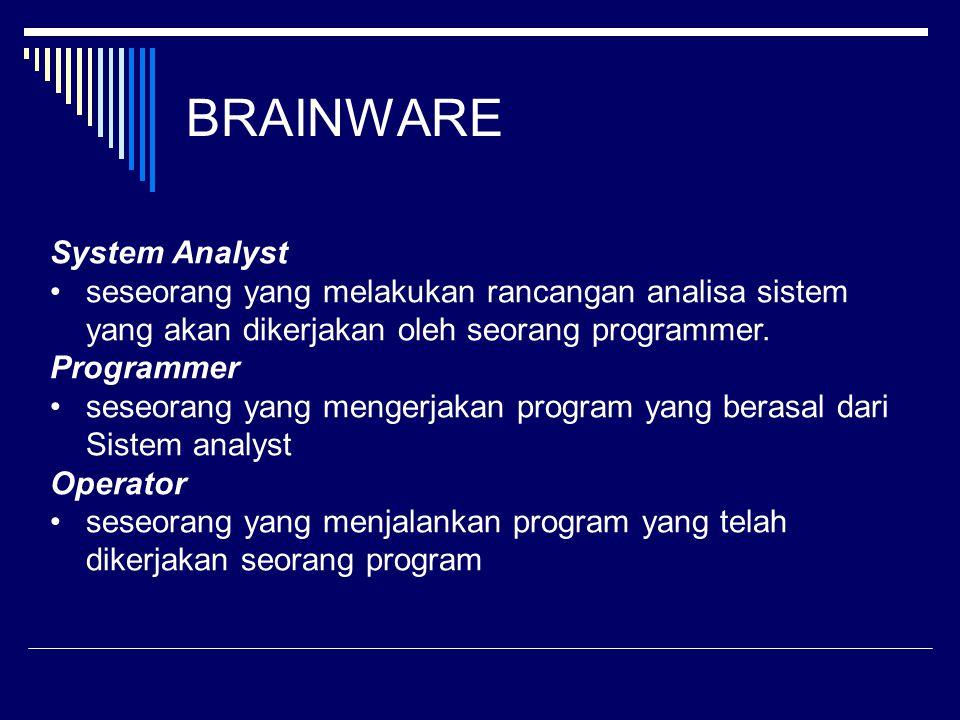 BRAINWARE System Analyst seseorang yang melakukan rancangan analisa sistem yang akan dikerjakan oleh seorang programmer. Programmer seseorang yang men