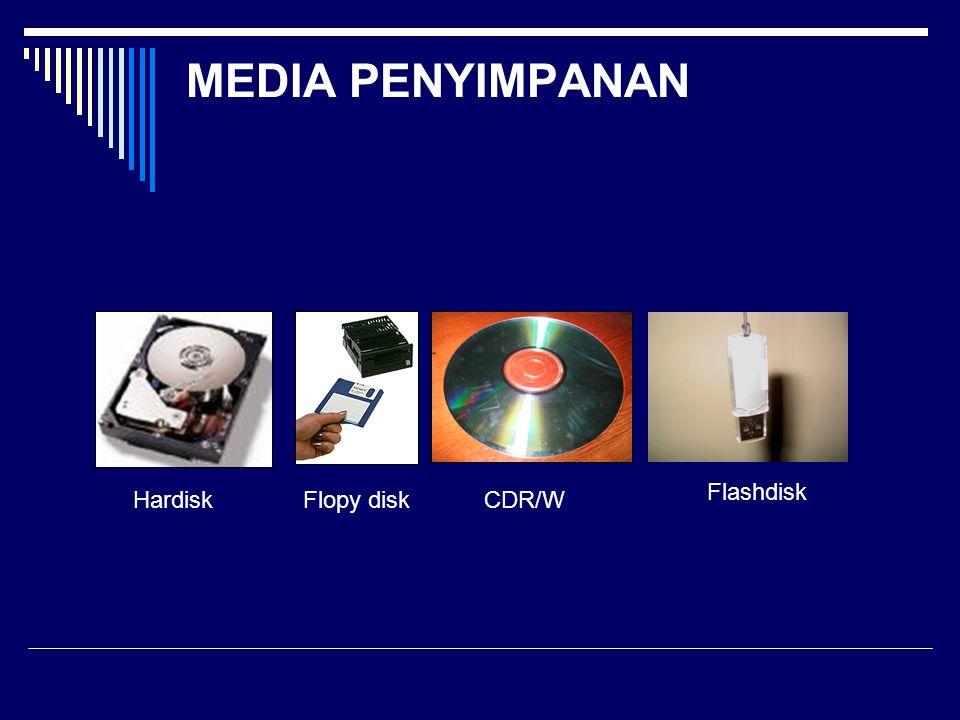 MEDIA PENYIMPANAN HardiskFlopy diskCDR/W Flashdisk