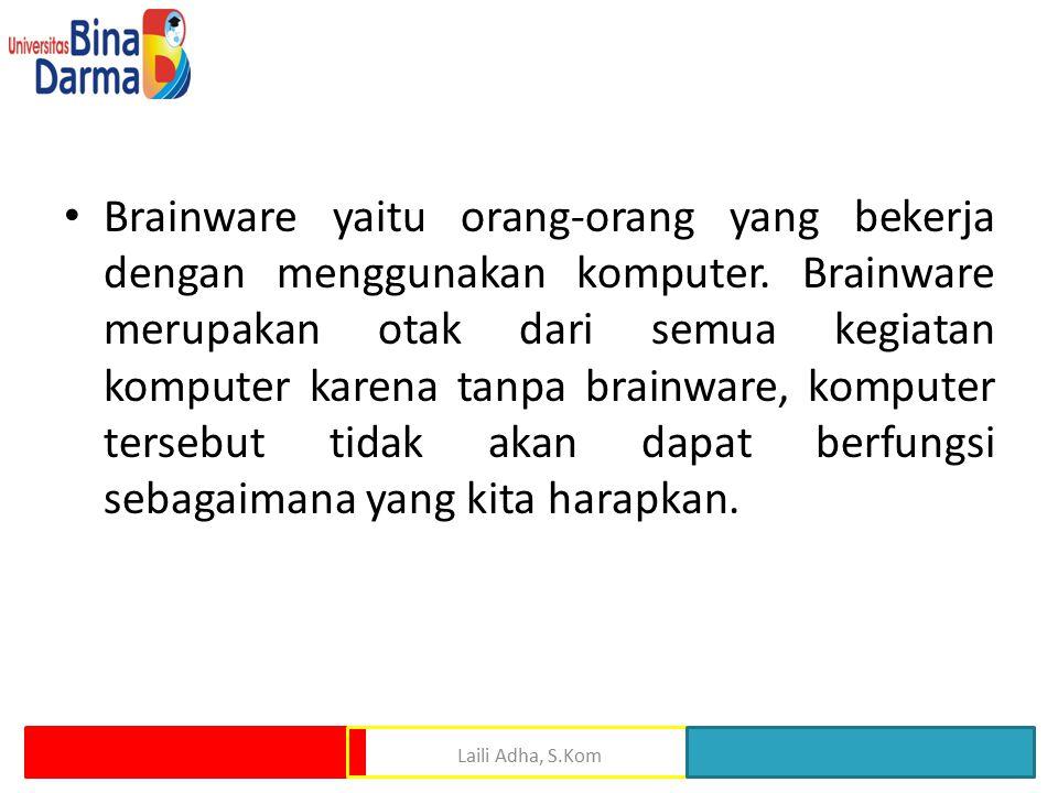 Brainware yaitu orang-orang yang bekerja dengan menggunakan komputer. Brainware merupakan otak dari semua kegiatan komputer karena tanpa brainware, ko