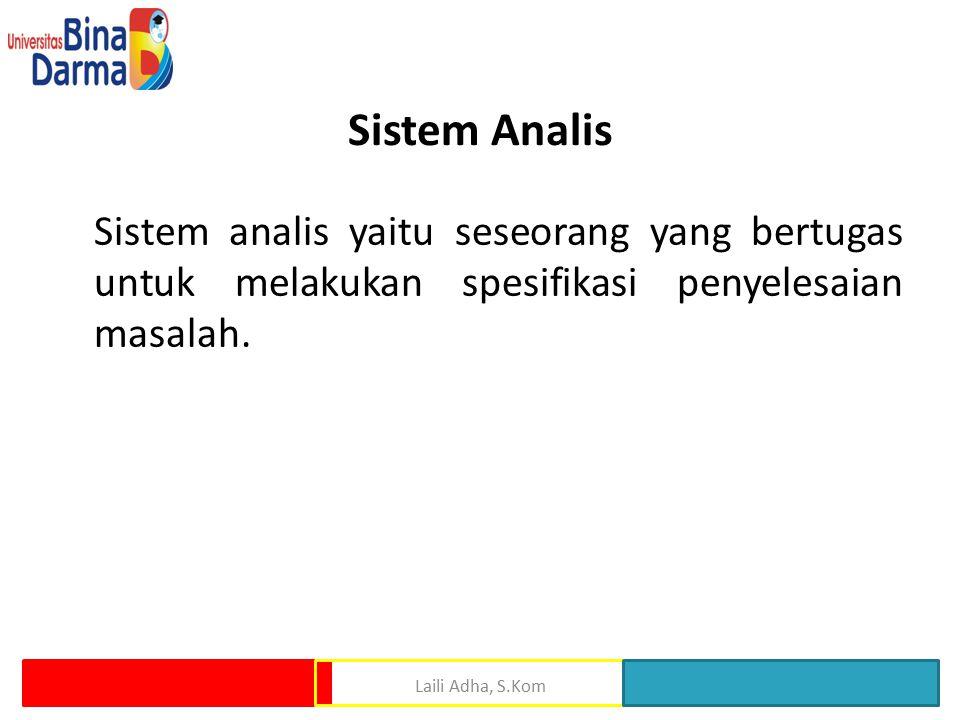 Sistem Analis Sistem analis yaitu seseorang yang bertugas untuk melakukan spesifikasi penyelesaian masalah. Laili Adha, S.Kom