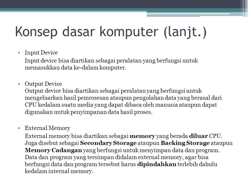 Konsep dasar komputer (lanjt.) Input Device Input device bisa diartikan sebagai peralatan yang berfungsi untuk memasukkan data ke-dalam komputer. Outp